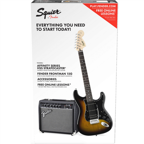 Squier Affinity Series Stratocaster HSS Guitar Pack Strat Brown Sunburst